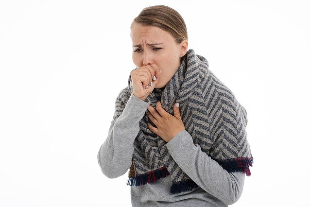Lady coughing